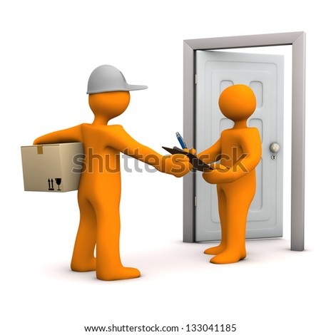 Two orange cartoon characters with parcel and door. White background. - stock photo