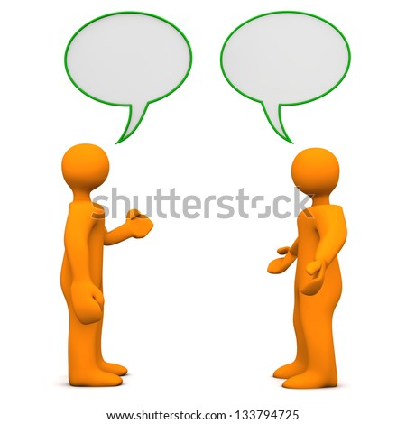 Two orange cartoon characters with speech bubbles. White background. - stock photo