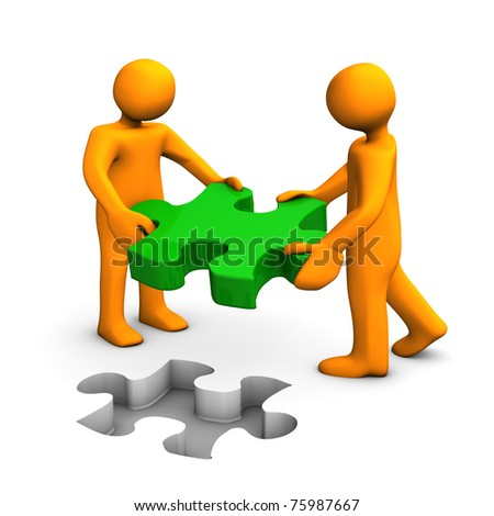 Two orange cartoons with puzzle on white background. - stock photo