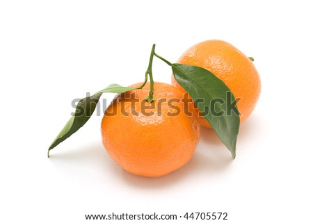 Two orange clementines on white background - stock photo