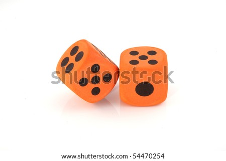 Two orange dices on a white background - stock photo