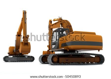 Two Orange diggers isolated on white background - stock photo