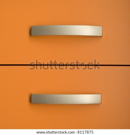 Two orange drawers - stock photo