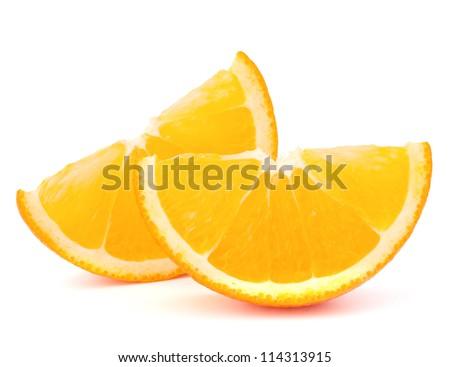 Two orange fruit segments or cantles isolated on white background cutout - stock photo