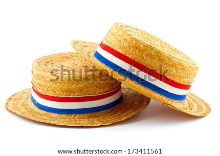 two orange reed hats with Dutch flag ribbon