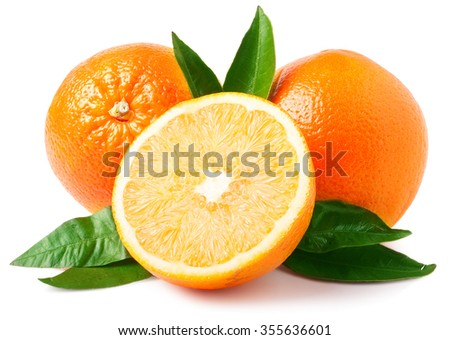 Two oranges isolated on white.