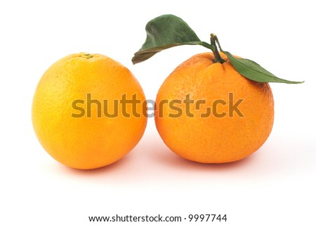 Two oranges isolated on white - stock photo