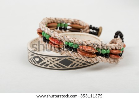 two original himba tribe handcrafted bracelet. The Himba are indigenous peoples living in northern Namibia.