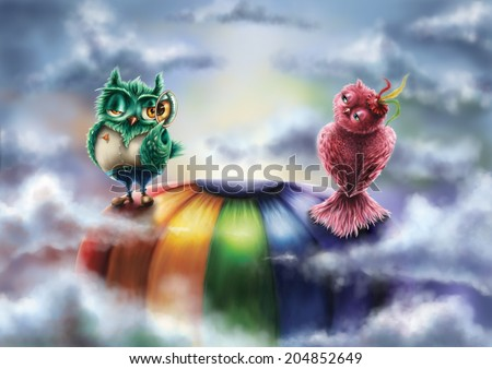 Two owls looking at each other on an air balloon, up in the sky / Who are you / Digital painting - stock photo
