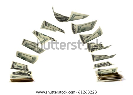 Two packets of dollars twitching at each other, white background - stock photo