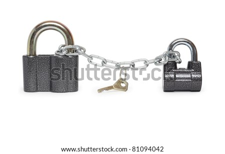 Two padlocks constrained with chain and key. Isolated on white with clipping path