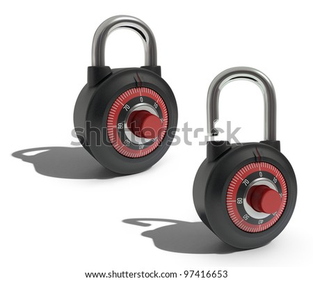 Two padlocks exactly the same position, one open the other closed