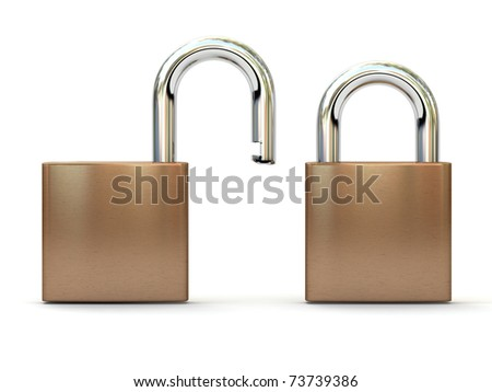Two padlocks in open and closed positions. Security concept. High quality 3D render. - stock photo