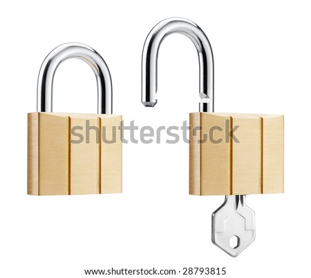 two padlocks showing lock and unlock, isolated on white