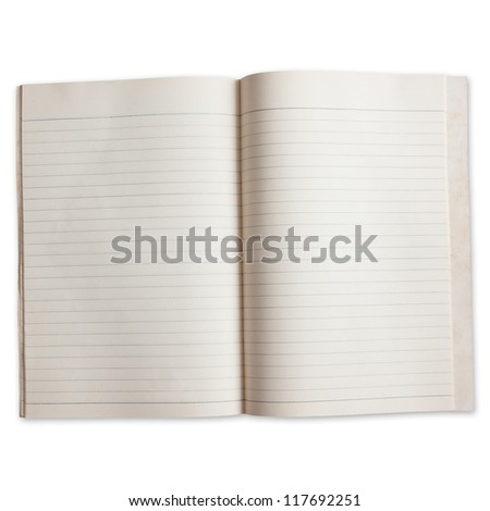 two page of old paper book with order line  isolated on white - stock photo