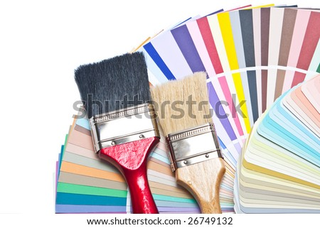 Two paint brush on color guide