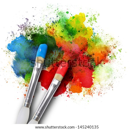 Two paintbrushes are painting a rainbow splattered art project. The brushstrokes are messy on a white isolated background. - stock photo