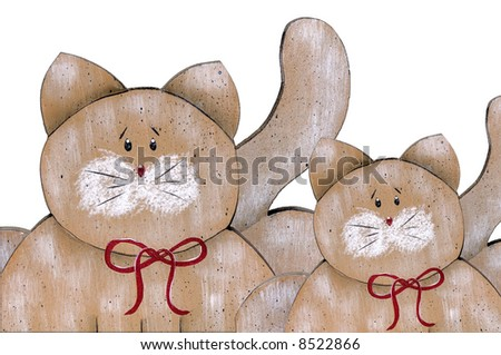 two painted cats with a red ruban white background - stock photo
