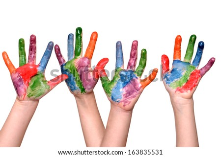 two pair child hands painted isolated white background - stock photo