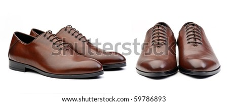 Two pairs of brown  male classic shoes - stock photo