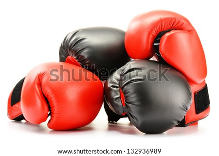 Two pairs of leather boxing gloves isolated on white