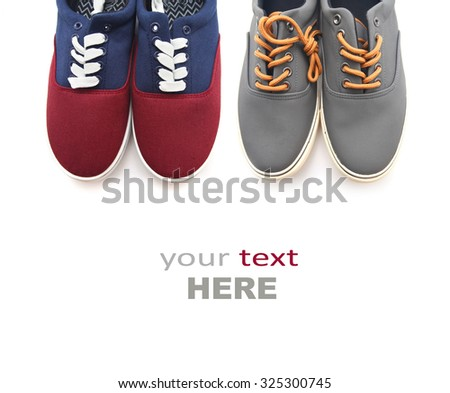 Two pairs of man shoes isolated on a white background