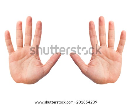 two palm hands - stock photo