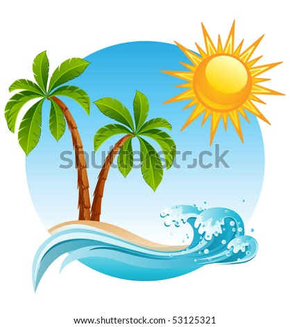 Two palm-tree  on the tropical island - raster version - stock photo