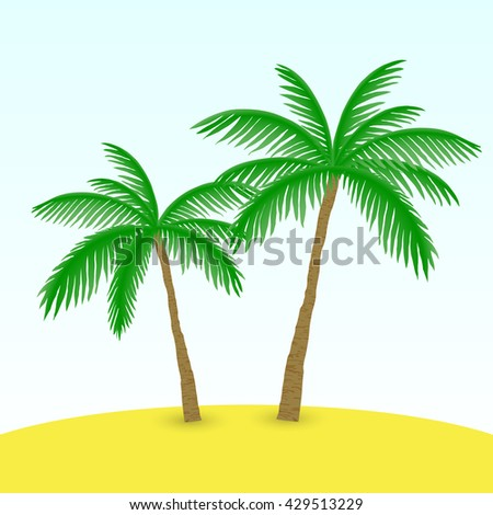 two palm trees on the beach