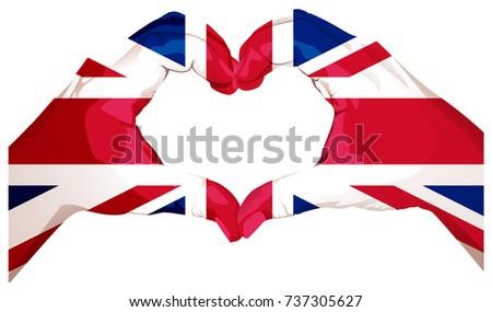 Two palms make heart shape british stock illustration 737305627 british flag greeting card illustration m4hsunfo