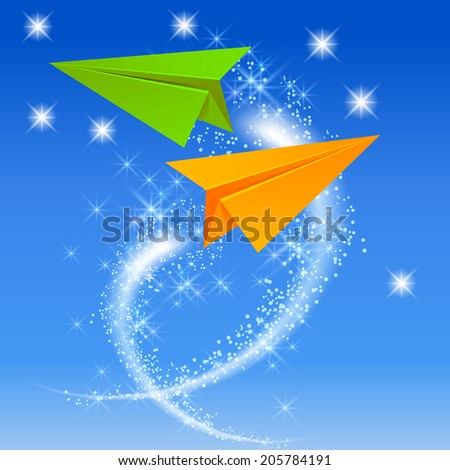Two paper airplane and glowing stars in the sky