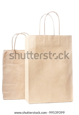 Two paper bags isolated over white background