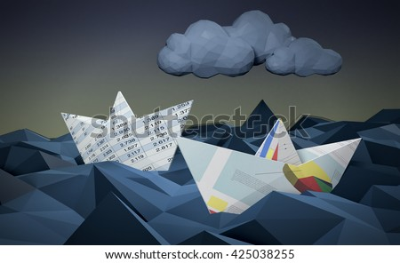 two paper boats made with financial documents on a stormy sea, concept of financial crisis, low-poly style (3d render) - stock photo