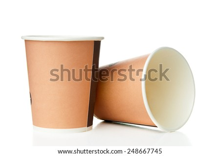 Two paper disposable cups - stock photo