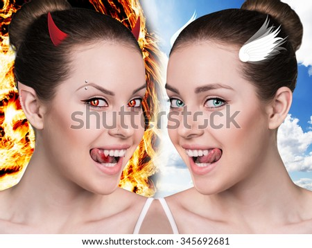 Two part of beautiful woman.Demon and angel. Good and evil concept - stock photo