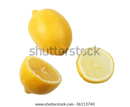 Two parts and single lemons. Close-up. Isolated on white background.