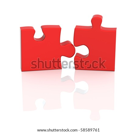 Two parts of a puzzle. Object over white - stock photo