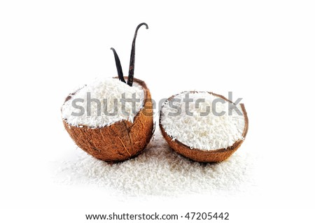 Two parts of coconut is filled with crumbs - stock photo