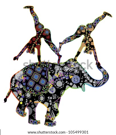 Two patterned acrobat performing a trick on the back of an elephant patterned in ethnic style - stock photo