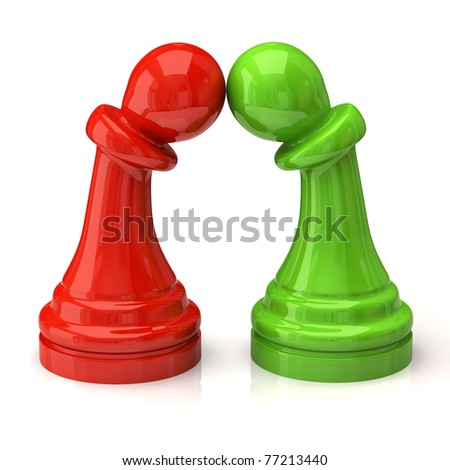 Two pawns in love - stock photo