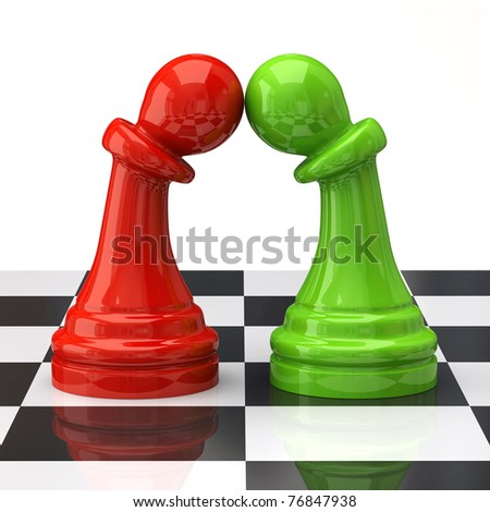 Two pawns in love on the chessboard - stock photo