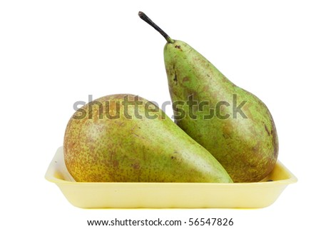 Two pears in yellow container