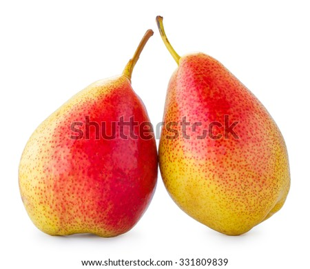 Two pears on a white background, the pears isolated fruit on a white background - stock photo