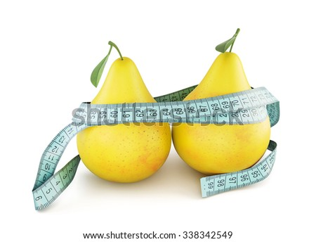Two pears wrapped in meter tape isolated on white background. 3d. - stock photo