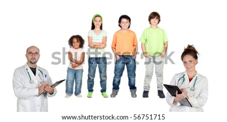 Two pediatricians with his four patients isolated on white background. Focus on doctors - stock photo