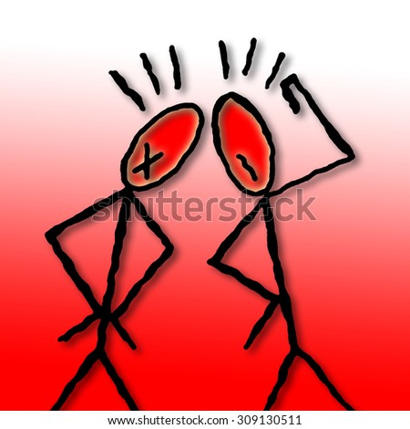 Two people are arguing - conceptual illustration drawn freehand - stock photo