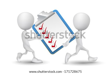two people carried a clipping note pad and check list - stock photo