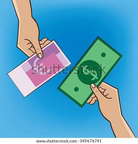 Two people changing money - replacement and exchange concept. Raster version of illustration - stock photo