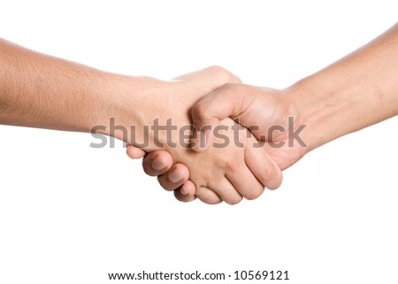 Two people doing handshake, isolated - stock photo