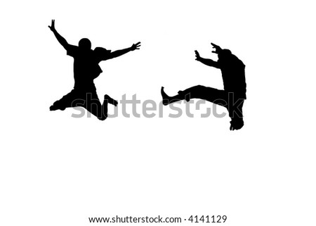 Two people going crazy - stock photo
